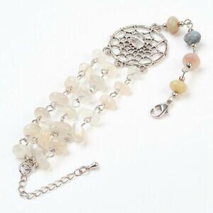 Silver Natural Moonstone Quartz Crystal Amazonite Beaded Dream Catcher Bracelet