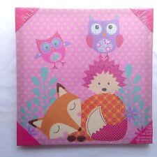 "Printed Canvas Wall Decor Owl Fox Jessica Flick Designs Wall Decor 14""x14"" Pink"