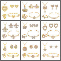 Gold Plated Necklace Earrings Bracelet Ring Jewellery Set Heart Butterfly Star