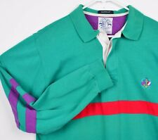 Vtg 90s Salty Dog GANT Men's Sz XL Green Striped Flag Embroidery Rugby Shirt