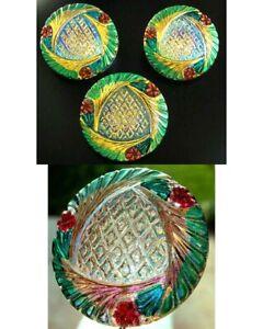 """3 Czech Crystal Glass Buttons #B406 - 27 mm or 1"""" - REVERSE IRIDESCENT!!!!!!!!!!"""