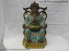 Chinese Pure Red Bronze Cloisonne God of wealth Lucky Feng Shui Buddha Statue