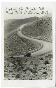 (5685) Old RPPC  Cars on  Picacho Hill Road  West of  Roswell New Mexico