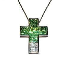 """Candy Bling"" Verde/Blanco Cristal Plata & Cross & Cadena (RRP £ 72.95)"