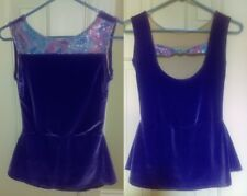 Ice Skating Dance Twirl Dress Purple sleeveless velour Women As