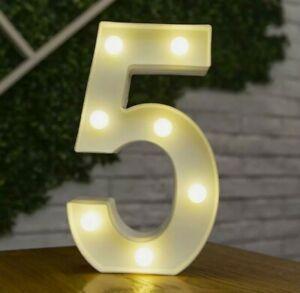 LED Lights Number 5 Neon Light Up Plastic lamp Birthday Wedding Party Decor