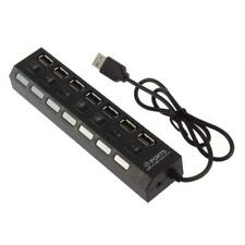 Black 7-Port USB 2.0 Hub with High Speed Adapter ON/OFF Switch for Laptop PC BT