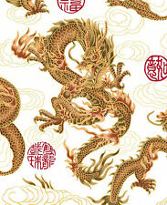 1 Yard: WHITE FIRE-BREATHING DRAGONS: Japanese Asian Oriental Quilt Fabric