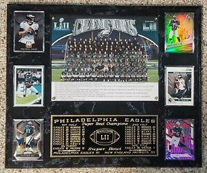 Philadelphia Eagles 2017-18 Super Bowl 52 Champions 15X18 Plaque 6 Cards LII