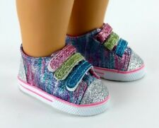 "Rainbow Glitter Sneakers Sparkle Tennis for 18"" American Girl Doll Shoes Clothes"