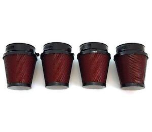 Set of 4 Black & Red Pod Filters - 54mm - Honda CB650/750/900/1000/1100