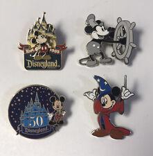 Lot (4) Disney Disneyland Pins Mickey 50th Steamboat Sorcerer 2005 2006