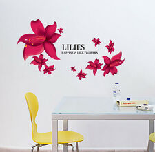 Large Red Lilies Flower Wall Sticker Vinyl Decal Home Room Decor DIY Art Mural