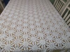 Vintage Crochet Tablecloth off white 98 x 70