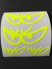 STICKERS AUTOCOLLANT JAUNE FLUORESCENT  FLUO YEUX CASQUE MOTO CASQUE SCOOTER