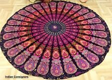 Round Peacock Cotton Beach Yoga Mat Tapestry Roundie Wall hanging Fringe Towel