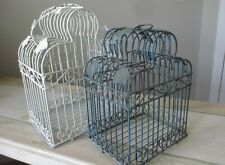 Iron Bird Cage Set Ivy Vines Decorative Heart Scrolls White & Verdi Green Pair