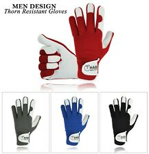 Mens Leather Gardening Gloves Thorn Proof Garden Work Top Quality Gloves - New