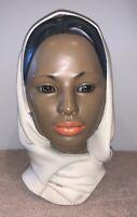 "Vintage Marwal Chalkware, Head Statute, Woman And Scarf. Mid- Century 10"""
