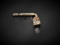 Solid 9ct Yellow Gold Real Diamond Nose Stud - L Shape