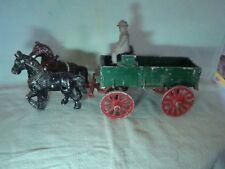 Stanley Toy Co. Cast Metal Farm Wagon, Horses & Driver