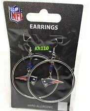NFL New England Patriots Hoop Earrings with Crystal Bead Dangle