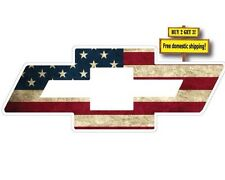 CHEVY BOW TIE SYMBOL LOGO W/ AMERICAN FLAG IMPOSED DECAL/STICKER CHEVORET p74
