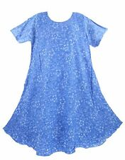Blue Women Batik Caftan Tunic Tank Short Sleeve Long Dress Cover Up Plus Sz