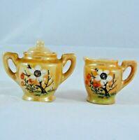 Vintage Orange Lusterware Miniature Creamer Cream Sugar Set Asian Floral Design