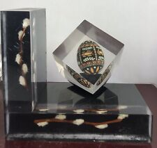 Vintage Clear Acrylic Paperweight Painted Eggs And Branches/ Display