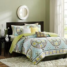 King size 6-Piece Damask Quilt Coverlet Set in Blue Brown Green 2 Shams
