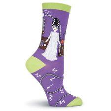 K.Bell Purple Lime Green Halloween Bride Ladies Cotton Blend Crew Socks New