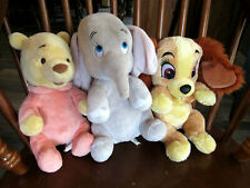 """3 Disney Babies 12"""" Plush Toys - Winnie the Pooh, Dumbo, Lady and the Tramp"""