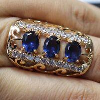 Blue Sapphire Ring Women Jewelry Wedding Engagement Gift Free Ship