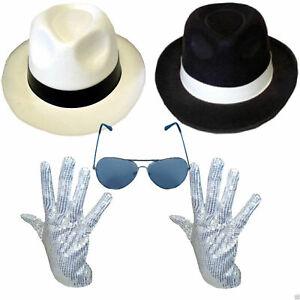 Michael Jackson Deluxe Hat And Sequin Glove Set Fancy Dress Pop Star Accessory