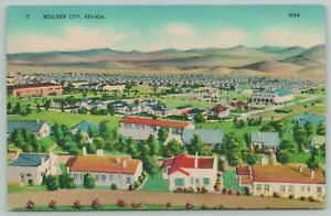 Boulder City Nevada~Aerial View Of Residence In City~1940s Linen Postcard