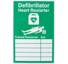 AED DEFIBRILLATOR SIGN - TRAINED PERSONNEL -RIGID PLASTIC - 20CM X 30CM -A4 SIZE