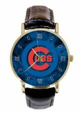 MLB Chicago Cubs Watch Women's Black Faux Leather Strap