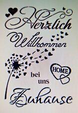 Shabby Schablone Möbel Wand Stoff Farbe Schild Spruch Herzlich Willkommen Zitat