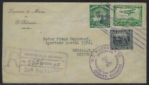 1932 El Salvador Registered Air Mail Cover - Mexico Legation to Mexico City