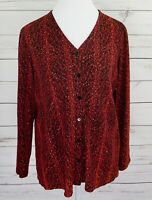 Laura Ashley Top Womens Medium M Red Black Button Long Sleeve Dressy Blouse