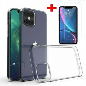 Clear Gel Case with Tempered Glass Screen Protector for iPhone 12/12Pro Max