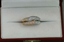 Ladies Two Tone 14kt Rose and White Gold Diamond Pave Ring