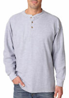 UltraClub Men's Soft Mini Thermal Breathable Waffle Knit Henley Shirt. 8456