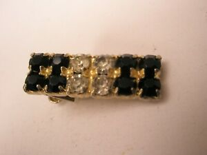 -Black & White Rhinestone Quality Vintage TINY SMALL Tie Bar Clip