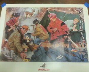 Winchester Deer Hunting advertising print 24x18 mint