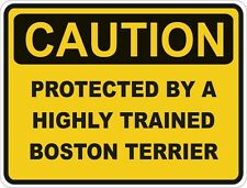 1x CAUTION PROTECTED BY BOSTON TERRIER WARNING FUNNY STICKER DOG PET DECAL VINYL