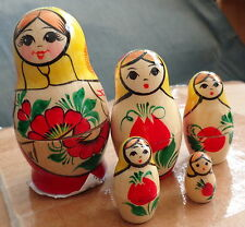 "Vyatka Wood Hand painted Russian Nesting Doll 5 Pcs 3.5"" #2s"