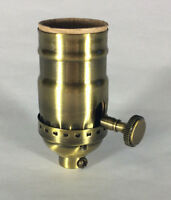 3-Way Function Antique Solid Brass Industrial Style Turn Knob Lamp Socket SO273A