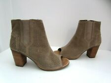 Toms Majorca Tan Suede Perforated Peep Toe Ankle Boots Booties 7.5 New